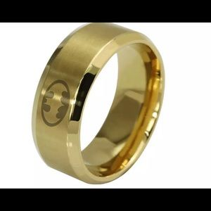 8mm stainless steel Batman wedding band rin